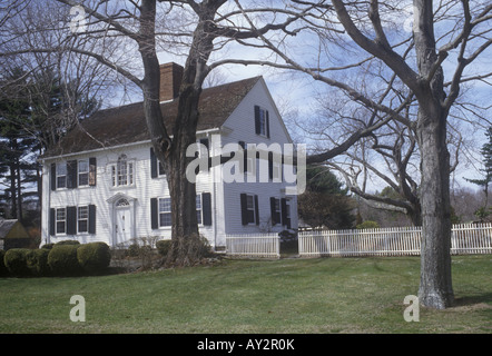 American Colonial Style Farmhouse In Lyme Connecticut New England White Clapboard Dating From Mid 18th Century