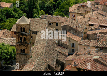 Moustiers Sainte Marie village in Provence, France - rooftops - Stock Photo