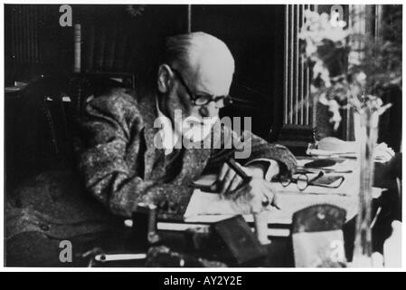 Freud Reading At Desk 30 - Stock Photo