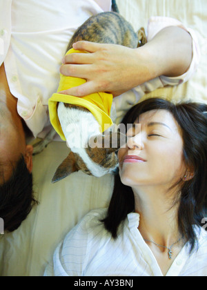 High angle view of a mid adult couple lying on the bed with a Chihuahua puppy - Stock Photo