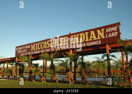 Florida Everglades Seminole Indian airboat ride sign on the Tamiami Trail - Stock Photo