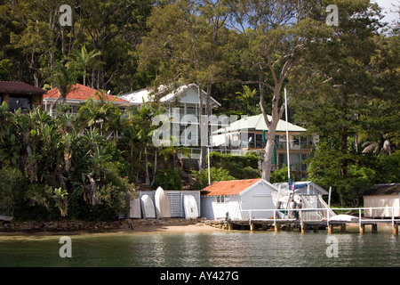 expensive detached family homes on the waterfront in Pittwater,Sydney,new south wales, australia - Stock Photo