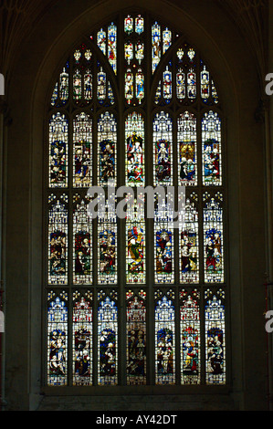 Bath stained glass window with biblical scene of the gothic abbey - Stock Photo
