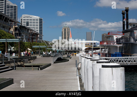 Paddle steamers moored against the quay at Darling harbour, sydney,australia - Stock Photo