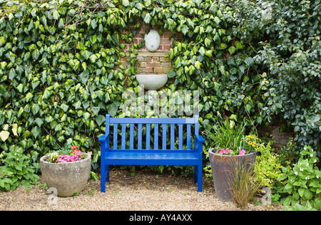 Fabulous Bright Blue Garden Bench Seat Surrounded By Verbena X Gmtry Best Dining Table And Chair Ideas Images Gmtryco