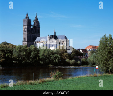 Dom und Elbelandschaft in Magdeburg, Elbe, Sachsen-Anhalt - Stock Photo