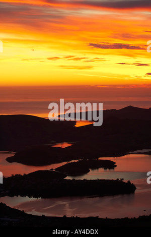 Dawn View of Otago Harbour and Otago Peninsula from Mt Cargill Dunedin South Island New Zealand - Stock Photo