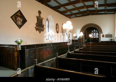 UK Derbyshire Castleton St Edmunds Church interior 17th century box pews - Stock Photo