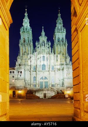Santiago de Compostela medieval cathedral at night Galicia Spain - Stock Photo