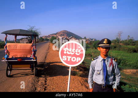 Lake Tonle Sap Village Police with Stop Sign Cambodia - Stock Photo