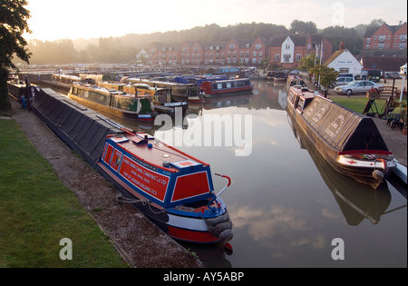 Doug Blane Narrowboats moored at Braunston marina on the Grand Union canal - Stock Photo