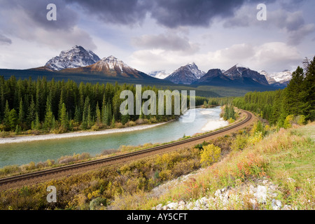 View of the Rocky mountains from Morant s Curve on the CPR line along the Bow River near Lake Louise in Banff National - Stock Photo