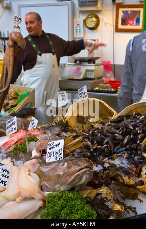 Seafood stall at Borough Organic market in London UK - Stock Photo