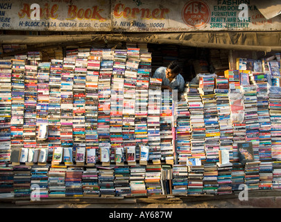 A secondhand book shop in Connaught Place in Delhi in India - Stock Photo