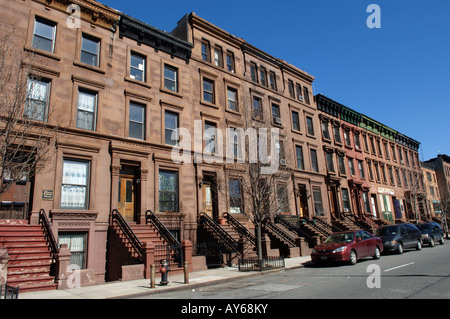Brownstones on West 126th street in Harlem in NYC - Stock Photo