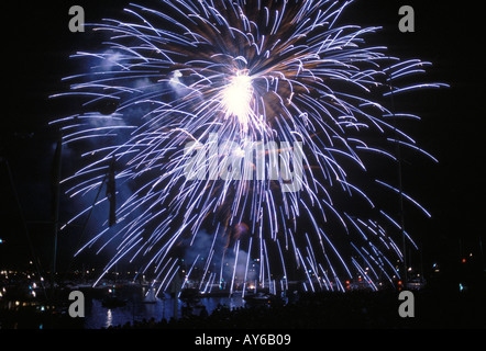 Cowes sailing Regatta Isle of Wight England UK. Fireworks over 'Marine Parade' to round off the racing sailing sail - Stock Photo