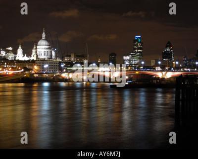 Night Scene of London's Skyline During the Thames Festival - Stock Photo