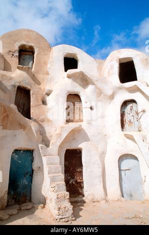 Tunisia The South Jebel Dahar Region Medenine Ksar de Ghorfas - Stock Photo