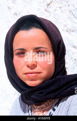 Tunisia The South Jebel Dahar Region Face of a Tunisian woman - Stock Photo