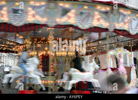 Fairground carousel in Brussels - Stock Photo