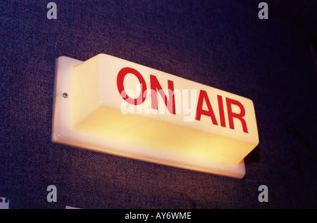 On air sign at radio station - Stock Photo
