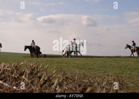 Gathering for the start of a'Point-to-Point'on the Berkshire Downs near Newbery - Stock Photo