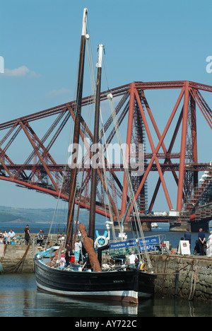 The Fifie the Reaper FR958 moored in South Queensferry harbour, Edinburgh, Scotland, UK. - Stock Photo