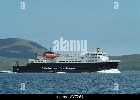 The Caledonian MacBrayne Ferry MV Clansman sailing south past Ardnamurchan, Highland, Scotland, UK. - Stock Photo