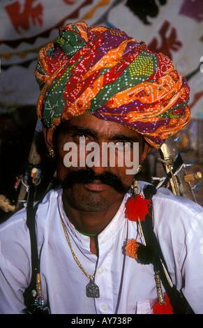 Man wearing turban in Jaisalmer Rajasthan India - Stock Photo