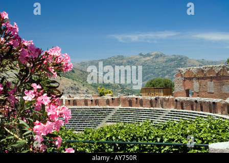taormina sicily italy greek roman theater - Stock Photo