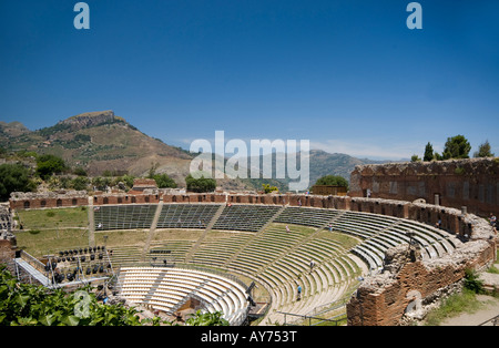 taormina italy sicily greek roman theater view of mount aetna etna - Stock Photo