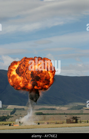 Controlled Explosions at Airshow - Stock Photo