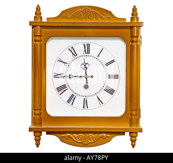 the big analog clock isolated with clipping path - Stock Photo
