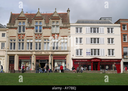 View of historic buildings on Exeter Cathedral Green, Devon, England - Stock Photo