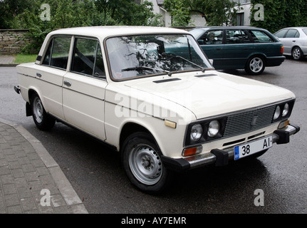 Russian car Lada seen on a rainy day on the street - Stock Photo
