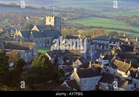 Corfe Castle village, Dorset, England,UK - Stock Photo