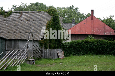 Rural farm house, wood shed and building with red tile roof, old wood fence grass - Stock Photo
