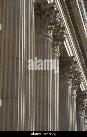 Corinthian columns line the facade of St Paul's Cathedral, London. - Stock Photo