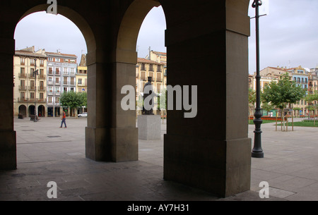 Characteristic Colourful Square from Arches Pamplona Iruñea Iruña Navarra Navarre Spain Iberia España Europe - Stock Photo