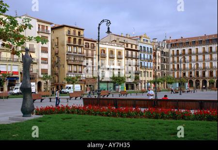 Characteristic Colourful Square with Flowers Pamplona Iruñea Iruña Navarra Navarre Spain Iberia España Europe - Stock Photo