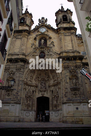 Characteristic Church of Parte Vieja Old Quarter San Sebastian Donostia Basque Country Bay of Biscay Spain España - Stock Photo