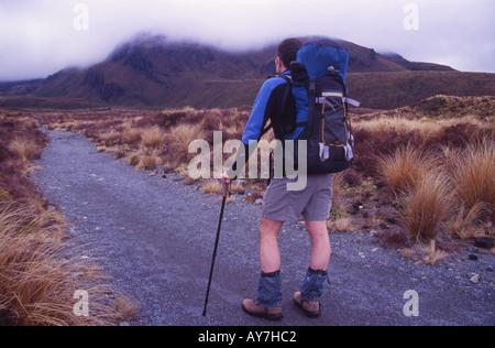 Lone Tramper on the Tongariro Crossing Tongariro National Park North Island New Zealand - Stock Photo