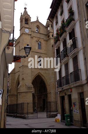 Characteristic Church of Parte Vieja Old Quarter San Sebastian Donostia Basque Country Bay of Biscay Spain España - Stock Photo
