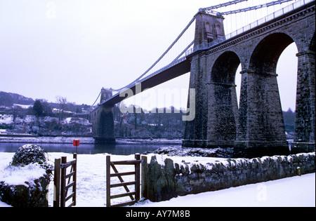Menai Bridge in Feb 2004 - Stock Photo