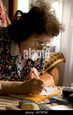 20060916 France Perpignan 85 years old woman from south of France with macula eye s disease living alone between - Stock Photo