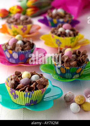 Chocolate Easter nests sweets editorial food - Stock Photo