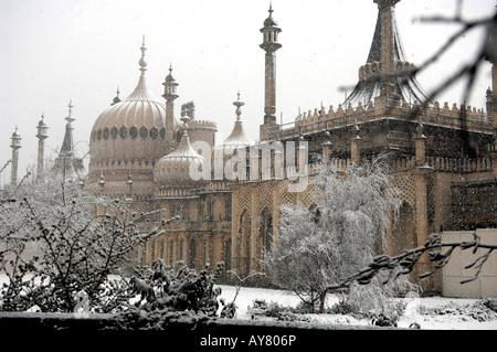 Snow on the Royal Pavilion in Brighton UK - Stock Photo