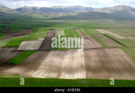 typical undulating patchwork countryside of le Marche ,The Marches,Italy - Stock Photo