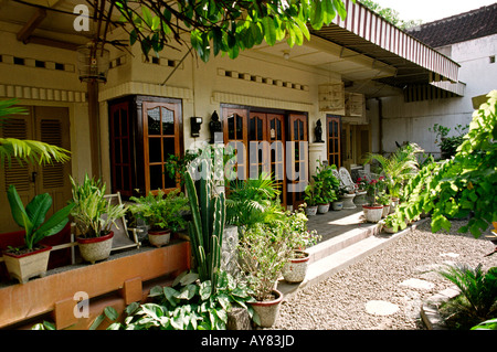 Indonesia, Java, Solo, house and garden, traditional architecture ...
