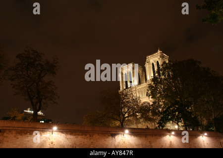 Paris by night - Notre-Dame cathedral - Stock Photo